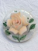 1940s/1950s Lucite Brooch with Apricot  Rose
